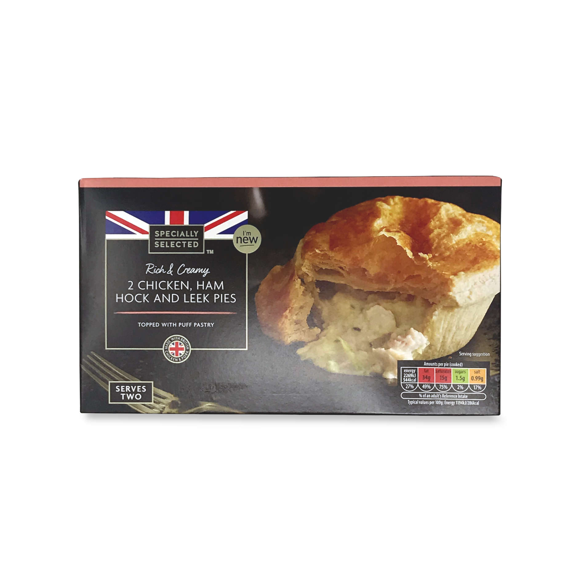 Rich Creamy 2 Chicken Ham Hock And Leek Pies 2count Specially Selected Aldi Ie