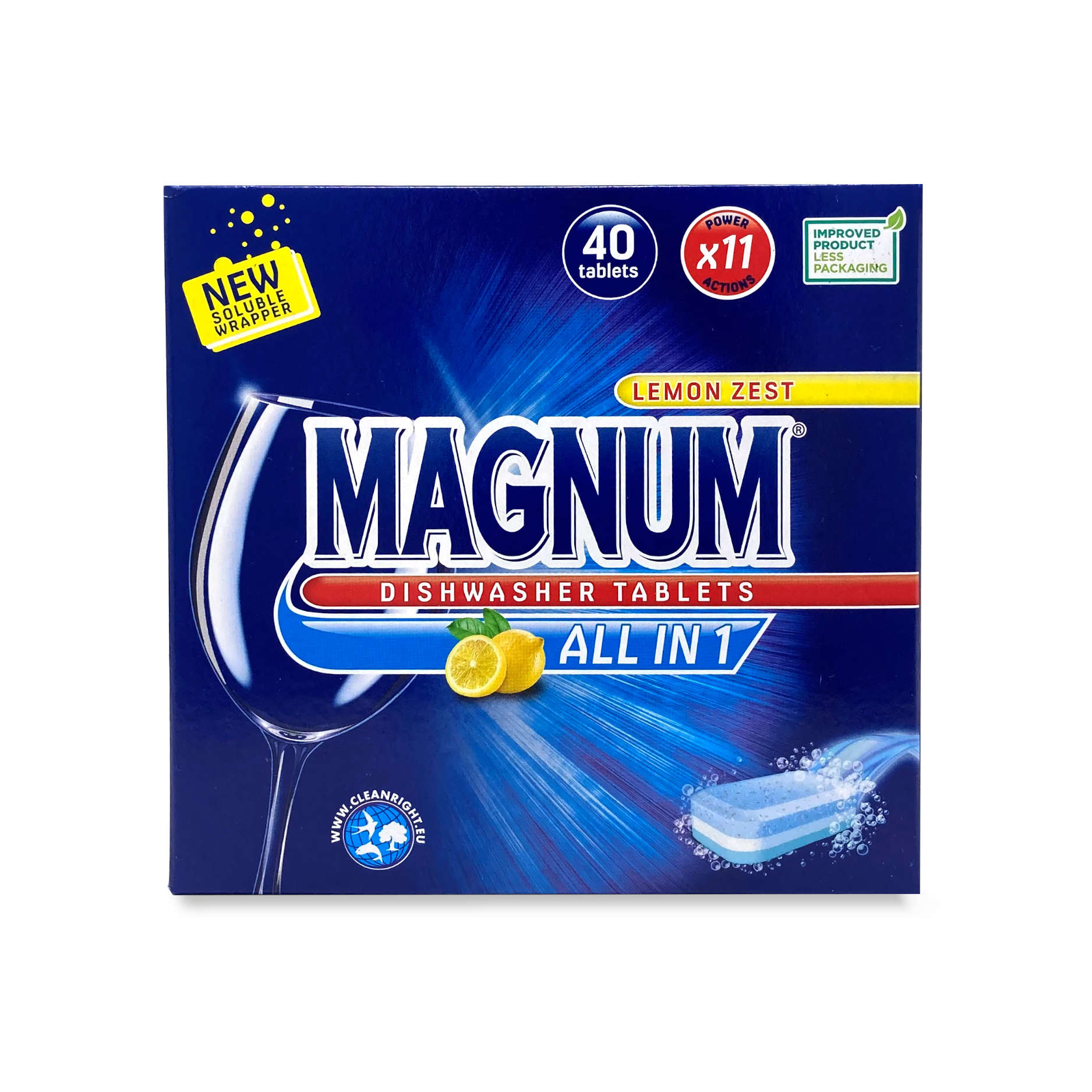 Magnum Lemon Zest All In 1 Dishwasher Tablets 40 Pack