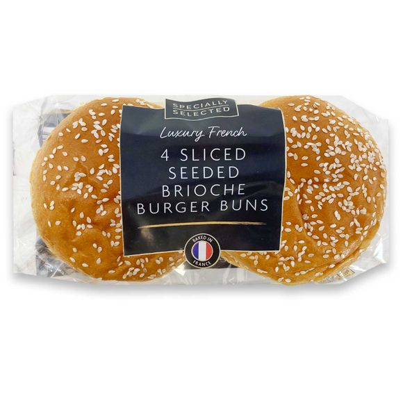 Specially Selected 4 Sliced Seeded Brioche Burger Buns 200g