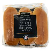 Specially Selected Luxury French 6 Sliced Brioche Hot Dog Rolls 270g