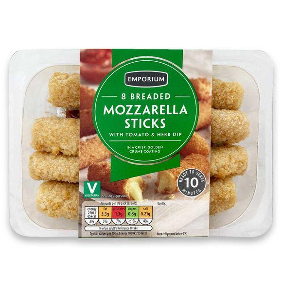 Emporium 8 Breaded Mozzarella Sticks With A Tomato & Herb Dip 160g